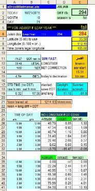 sundial excel spreadsheet gnomonics xls